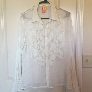 Tops - Sheer Victorian Button Up Confetti Blouse- ivory